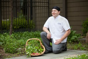 Chef Josh in the Healing Garden